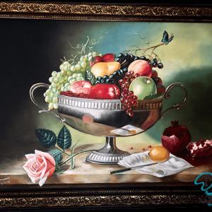 تابلو رنگ روغن ظرف میوه
