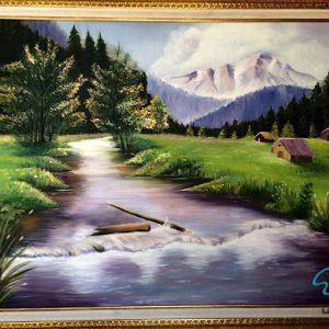 تابلو رنگ روغن رودخانه