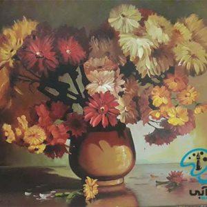 نقاشی گل و گلدان با مداد رنگی