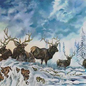 تابلو رنگ روغن منظره برفی