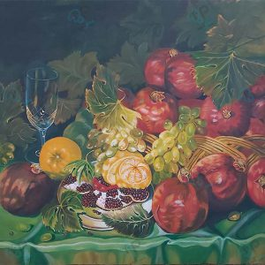 تابلو رنگ روغن سبد میوه