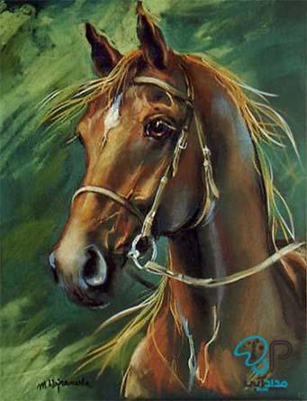 تابلو رنگ روغن اسب