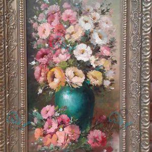 تابلو رنگ روغن گل و گلدان