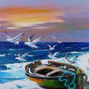 تابلو رنگ روغن دریا