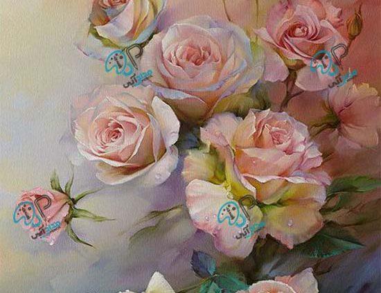 تابلو رنگ روغن گل رز