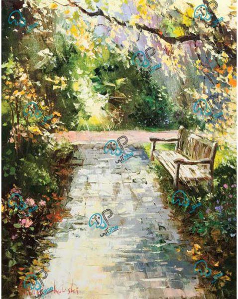 تابلو رنگ روغن کوچه باغ