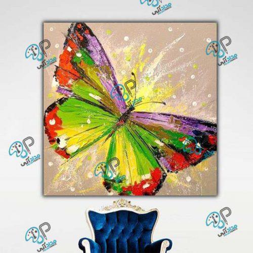 تابلو رنگ روغن پروانه