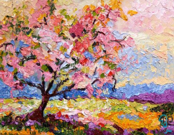 تابلو رنگ روغن درخت