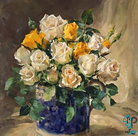 تابلو رنگ روغن گل گلدان