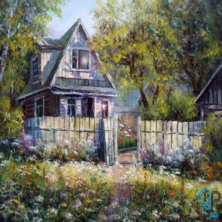 تابلو رنگ روغن روستا