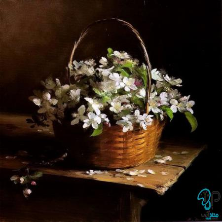 تابلو رنگ روغن سبد گل